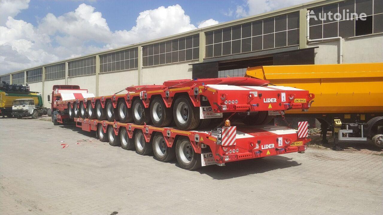 جديدة العربات نصف المقطورة عربة مقطورة مسطحة منخفضة LIDER 2021 model 150 Tons caapcity Lowbed semi trailer