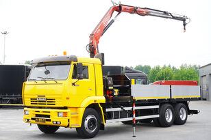 شاحنة مسطحة KAMAZ 65117 , 6x4 , Crane Fassi 95 , rotator , box 6m